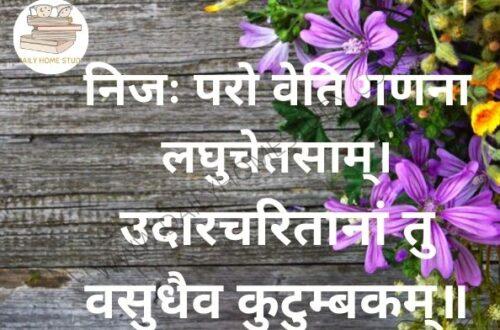 Vasudhaiva Kutumbakam – Full Sloka Meaning in Hindi, English | DailyHomeStudy